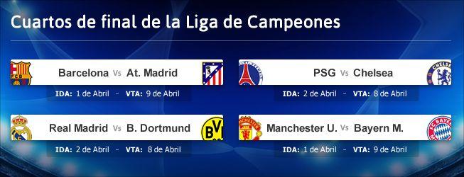 Madrid borussia dortmund y barcelona atl tico en cuartos for Cuartos dela champions 2014