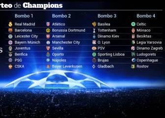 Así quedan los bombos para el sorteo de la Champions