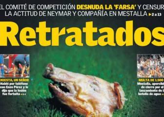 En Valencia atacan al Barça con la cabeza de cochinillo a Figo
