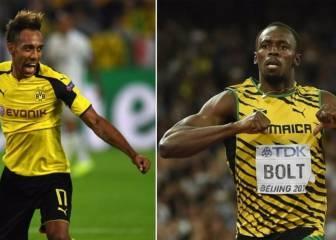 Aubameyang reta a Usain Bolt a una carrera de 30 metros