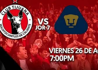 Tijuana vs Pumas en vivo online: Jornada 7 Liga MX