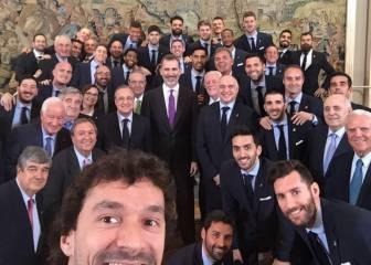 Felipe VI recibió al Madrid: Llull lo plasmó en un selfie