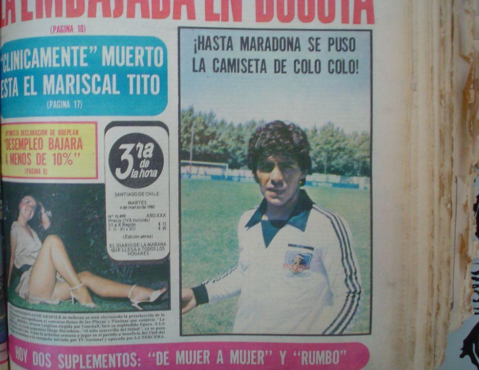 El día que Diego Maradona posó con la camiseta de Colo Colo - AS Chile