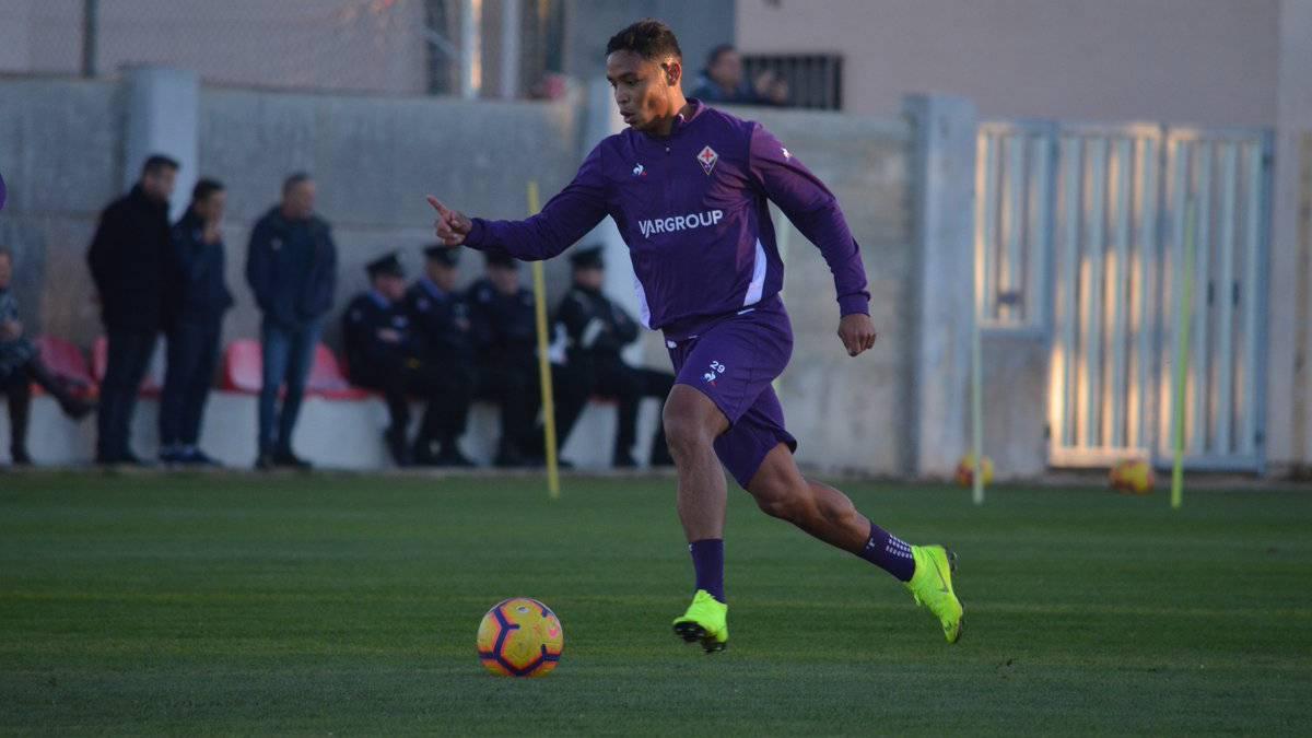 Muriel, en un entrenamiento con la Fiorentina.