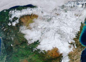 Espectacular imagen de España nevada desde el espacio