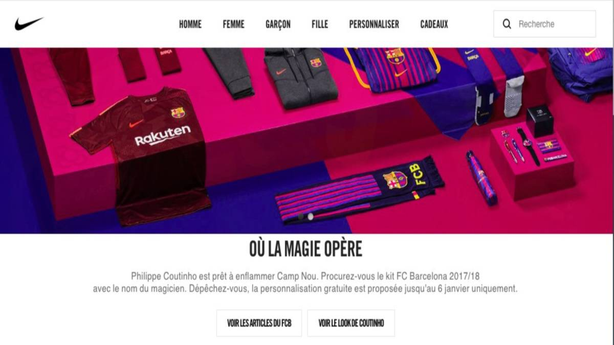 cba7151a821 Nike slip-up in promoting personalized Coutinho Barça shirts - AS.com