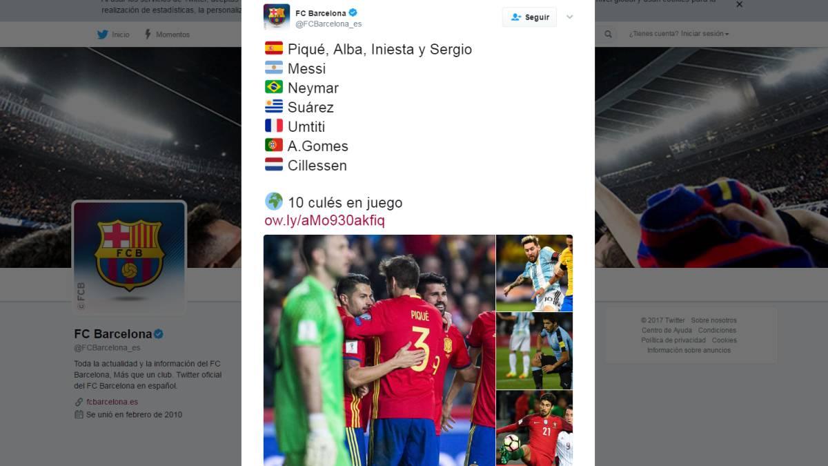 Mundial 2018  Despiste tuitero del Barça tras la sanción a Leo Messi ... 8f793d15f2b
