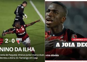 La prensa y el entrenador del Flamengo se rinden a Vinicius Jr
