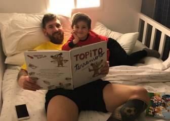 Papa Messi: Leo sube una foto leyéndole un libro a su hijo