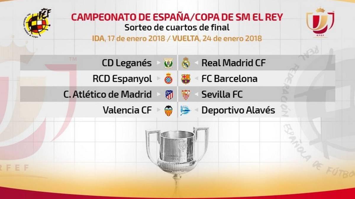 Resultado del sorteo de cuartos de final de Copa del Rey - AS.com