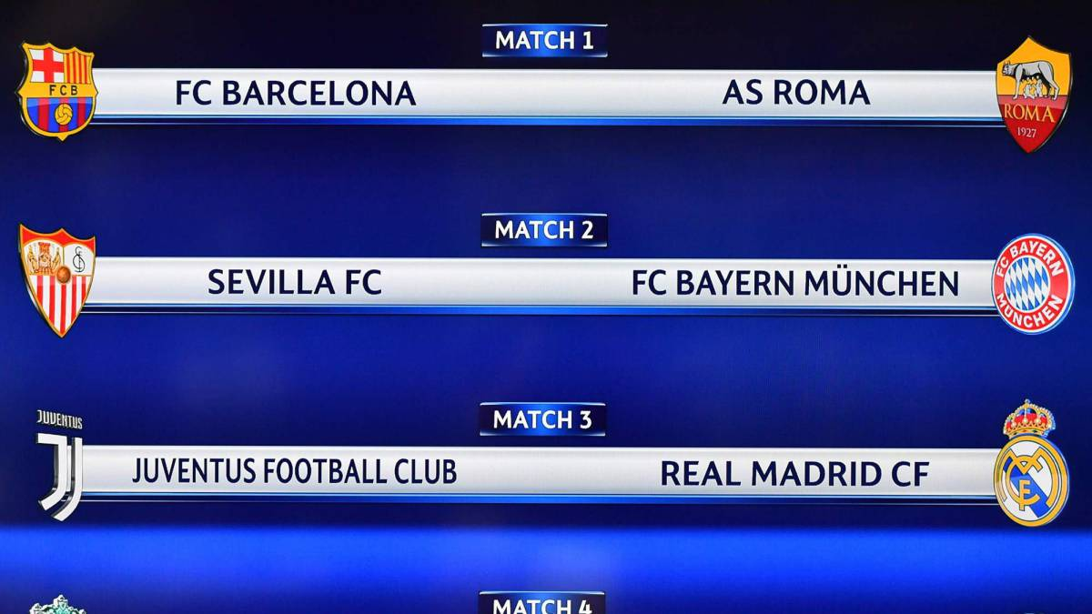 Resultado Sorteo Champions: Juve-Real Madrid, Barça-Roma y Sevilla ...