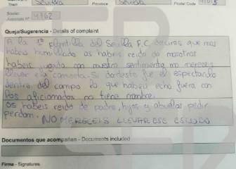 La hoja de reclamaciones de un socio del Sevilla por la Copa