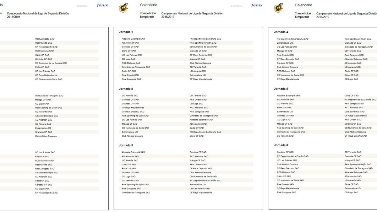 Calendario De Segunda Division De Futbol.Calendario Completo Con Las 42 Jornadas De La Segunda Division 2018