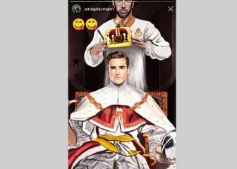 Griezmann publicó una foto siendo coronado por Ramos