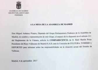 Podemos pide comparecer a Presa y De los Santos para tratar el estado de Vallecas