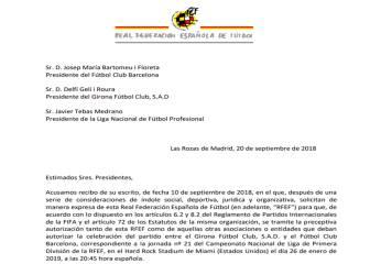 Esta es la carta que Rubiales mandó a Barça, Girona y LaLiga