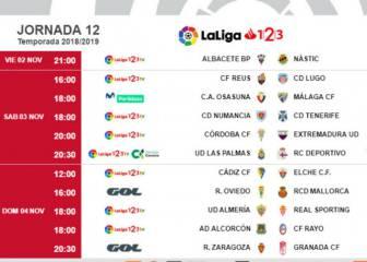 Ya hay horarios de la jornada 12 en Segunda División