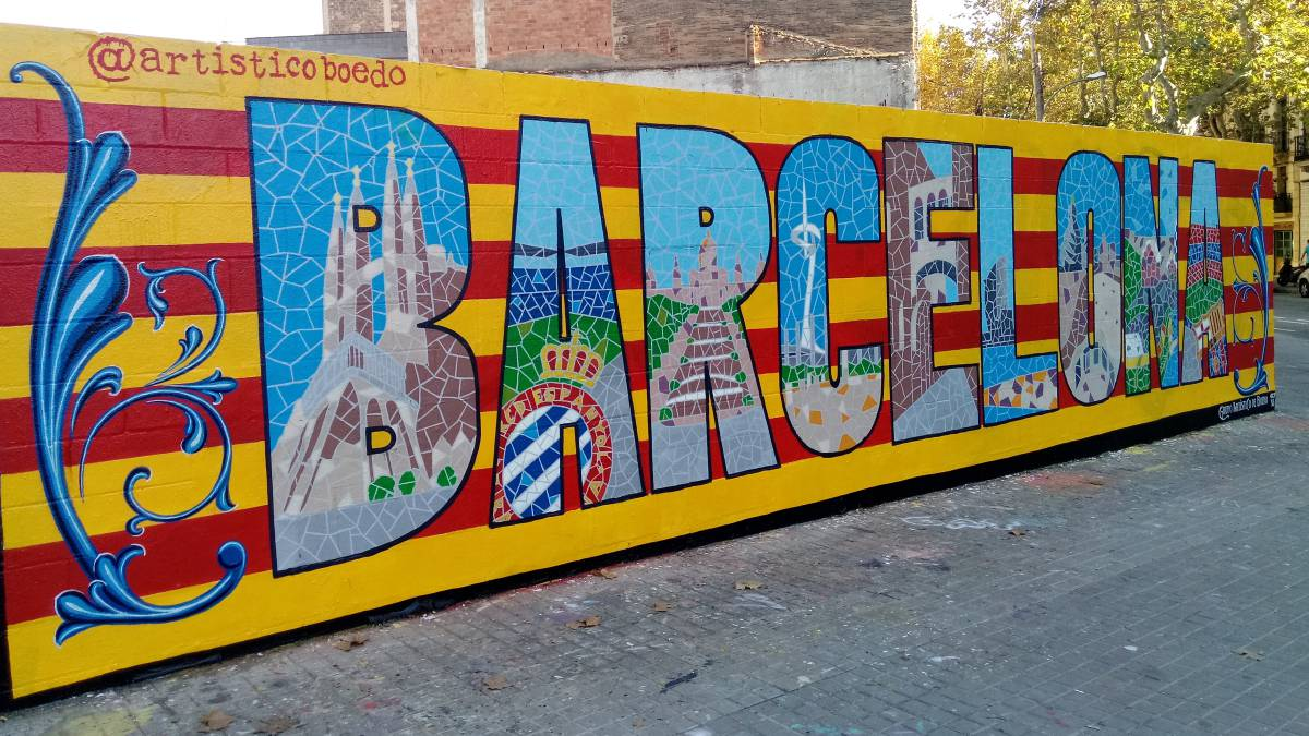 Futbol El Mural Que Derriba Muros En Barcelona Es De Trazo