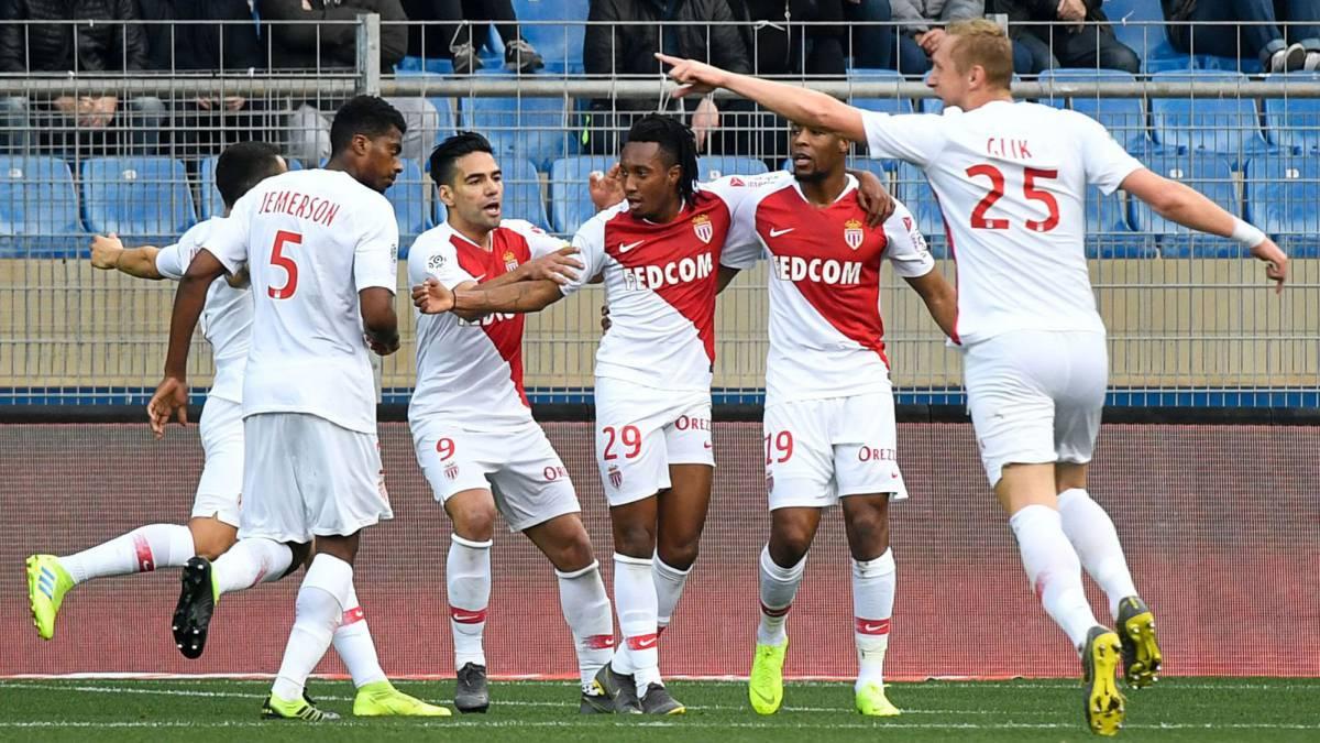 Gelson Martins festeja su primer gol con el Mónaco.