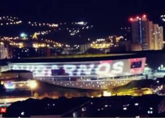 Fútbol El estadio de San Mamés se ilumina con un mensaje de ánimo al personal sanitario 1