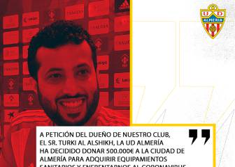 El jeque del Almería dona 500.000 euros a la ciudad para material sanitario