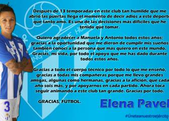Elena Pavel cuelga las botas tras trece temporadas en Huelva