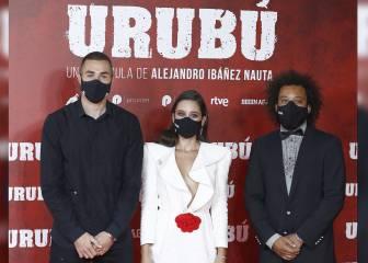 Los jugadores del Real Madrid en el estreno de 'Urubú'