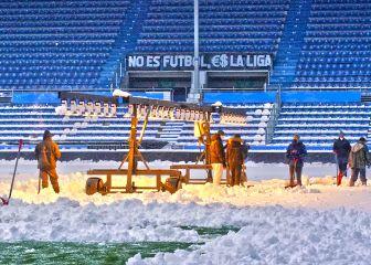 Alavés-Atlético: Mendizorroza se cubre de nieve
