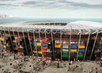 Una vista impresionante de los estadios mundialistas Al Thumama, Al Janoub, y Ras Abu Abuod 1