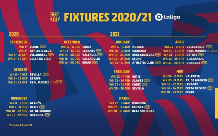 Calendrier Liga 2021 2022 LaLiga 2020/21 full fixture list released   AS.com