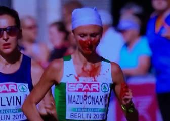 Imagen de la maratón: cubierta de sangre... y se lleva el oro