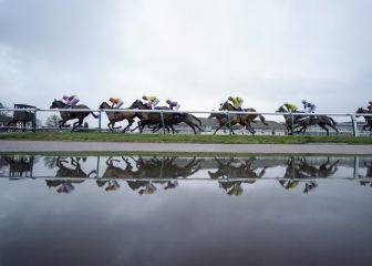 La lluvia deja curiosas imágenes en Lingfield Park