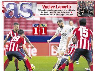 """""""Benzema sostiene al Madrid""""... las portadas deportivas de hoy 1"""