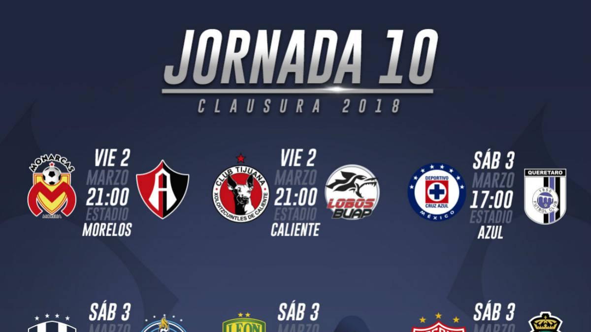 Fechas y horarios de la jornada 10 del Clausura 2018 de la Liga MX ... fd679ca577dc2