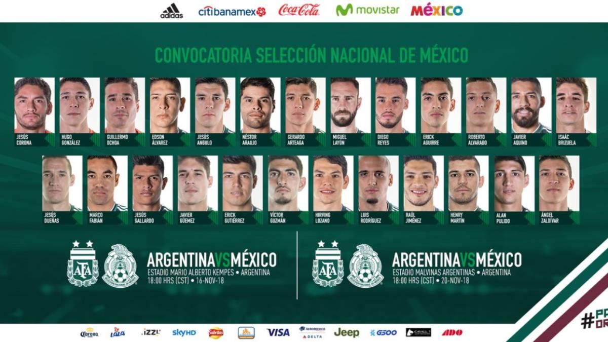 Revelan la convocatoria de México contra Argentina - AS México 8a3be2e231458