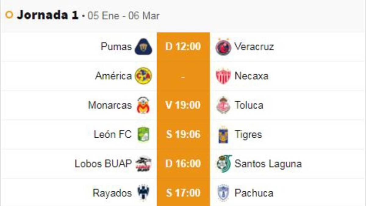 Fechas y horarios de la jornada 1 del Clausura 2019 de la Liga MX ... 6f2589a0bb5c7