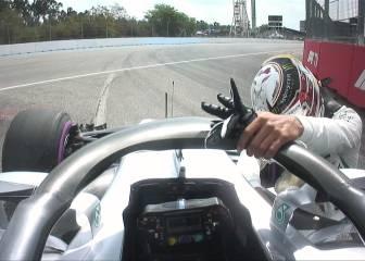 Hamilton, desesperado: trató de empujar el coche hasta el box