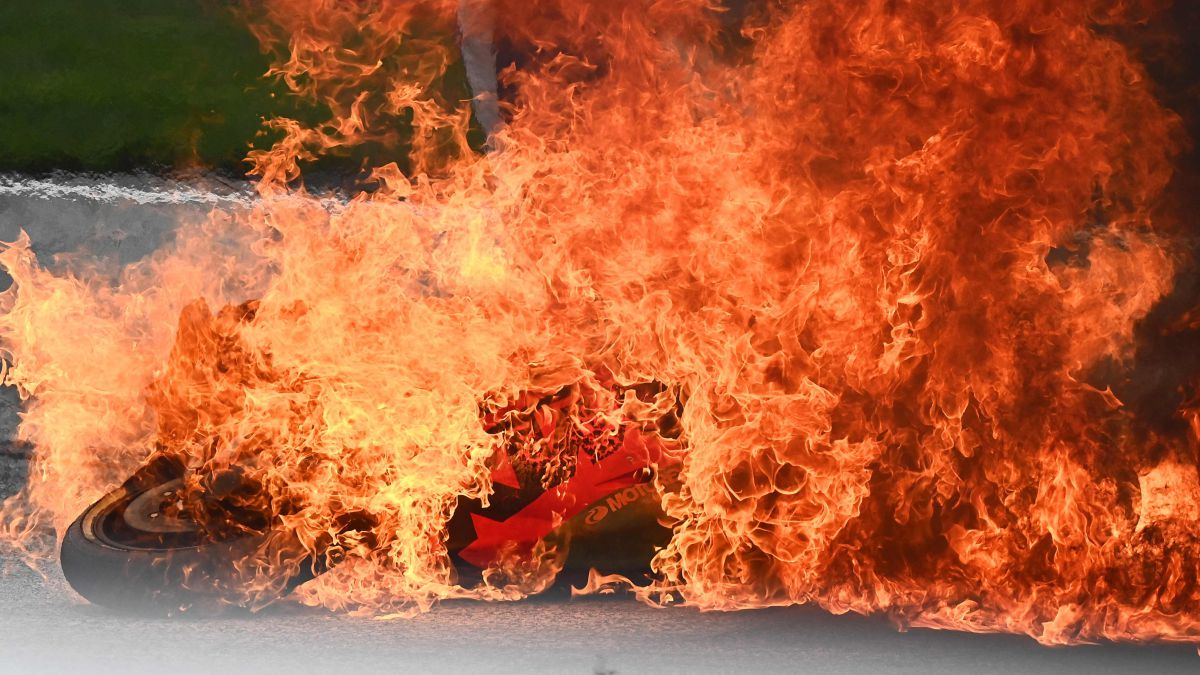 Pedrosa's-motorcycle-burns-at-the-Red-Bull-Ring-circuit