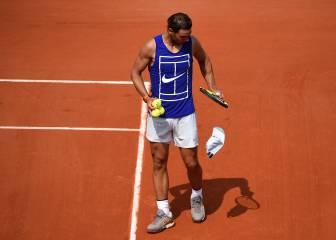Nadal practica con Pablo Cuevas en la Suzanne-Lenglen